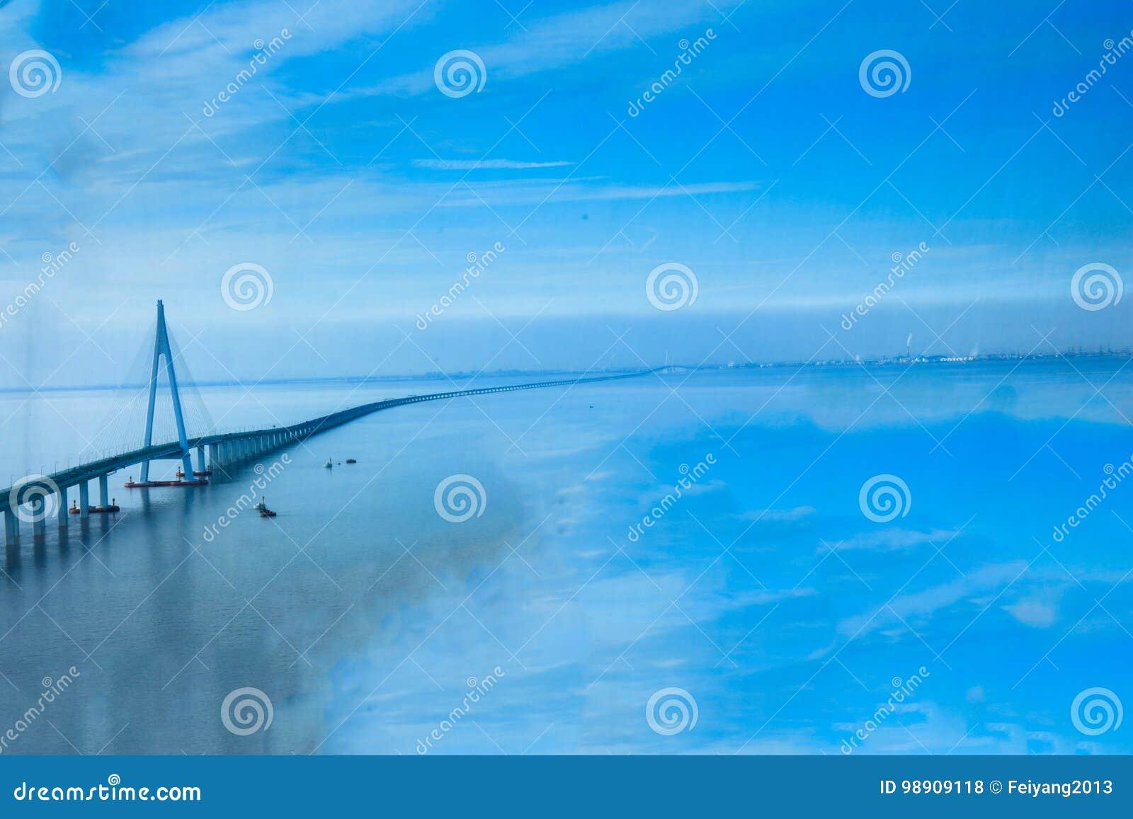 China `s Hangzhou Bay Bridge Editorial Stock Photo - Image