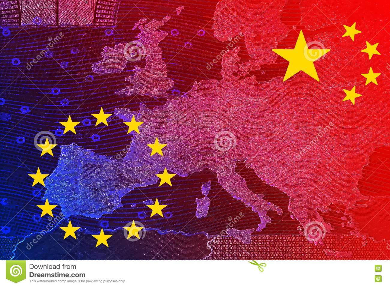 Map Of Europe And China.China S Relationship With Europe Stock Illustration Illustration