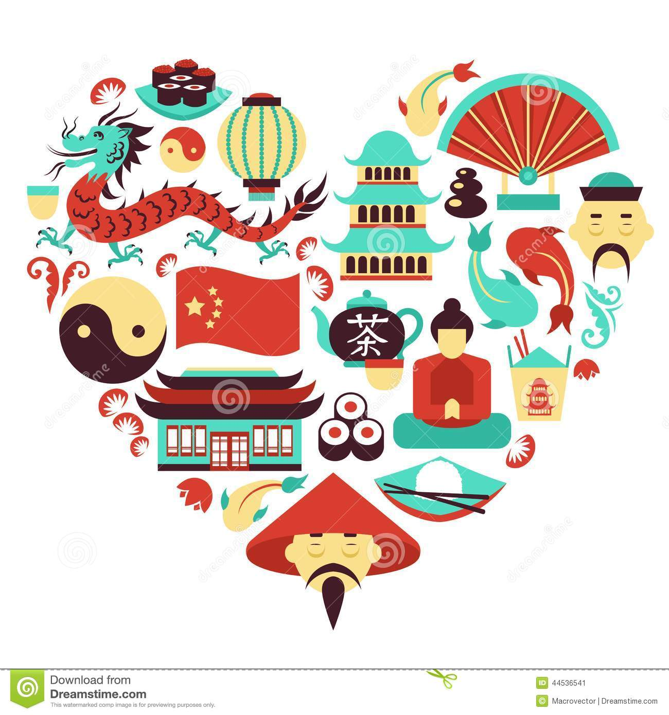 Traditional Japanese House Plans China Symbols Heart Stock Vector Image 44536541