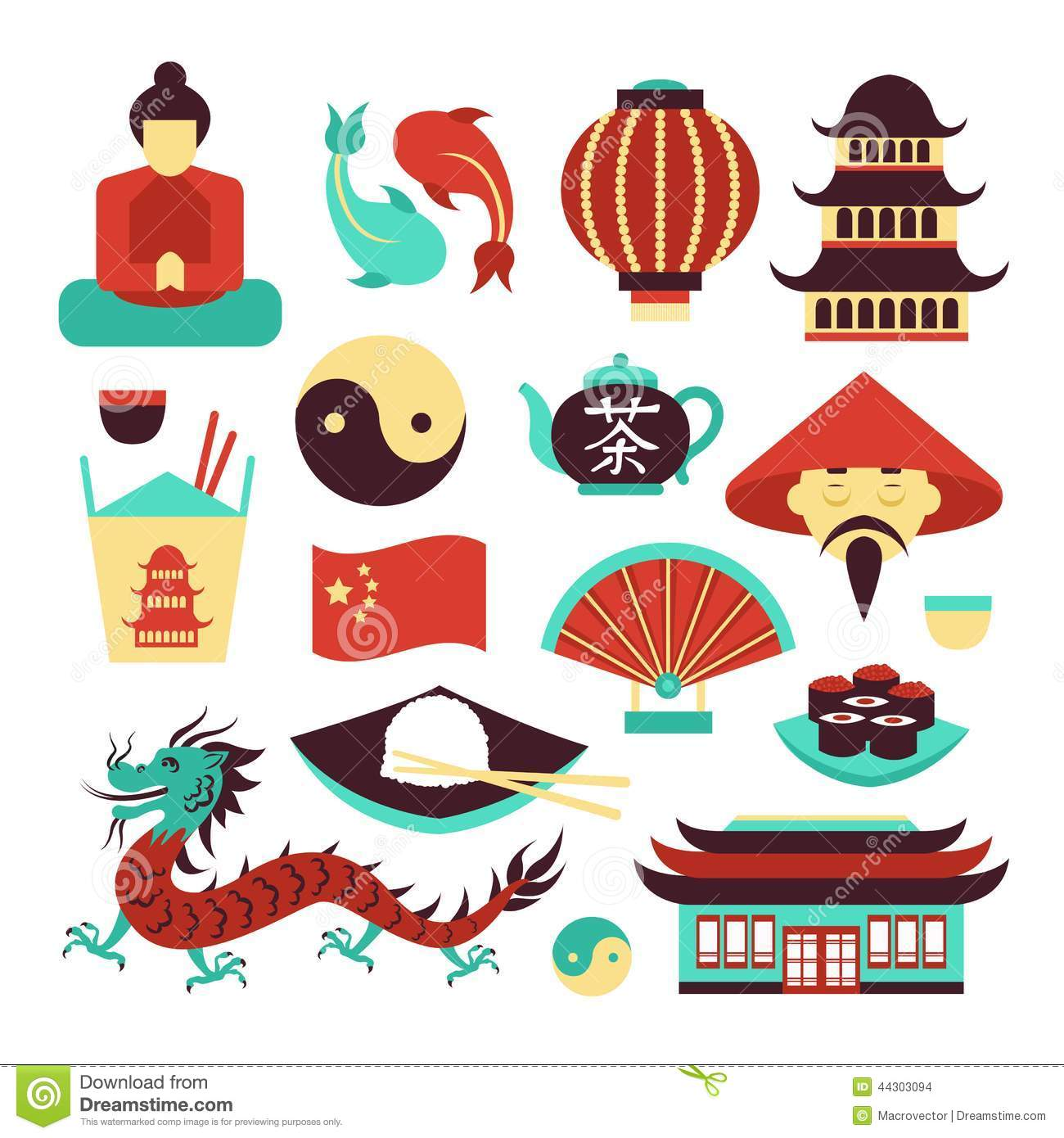 China travel asian traditional culture symbols set isolated vector ...