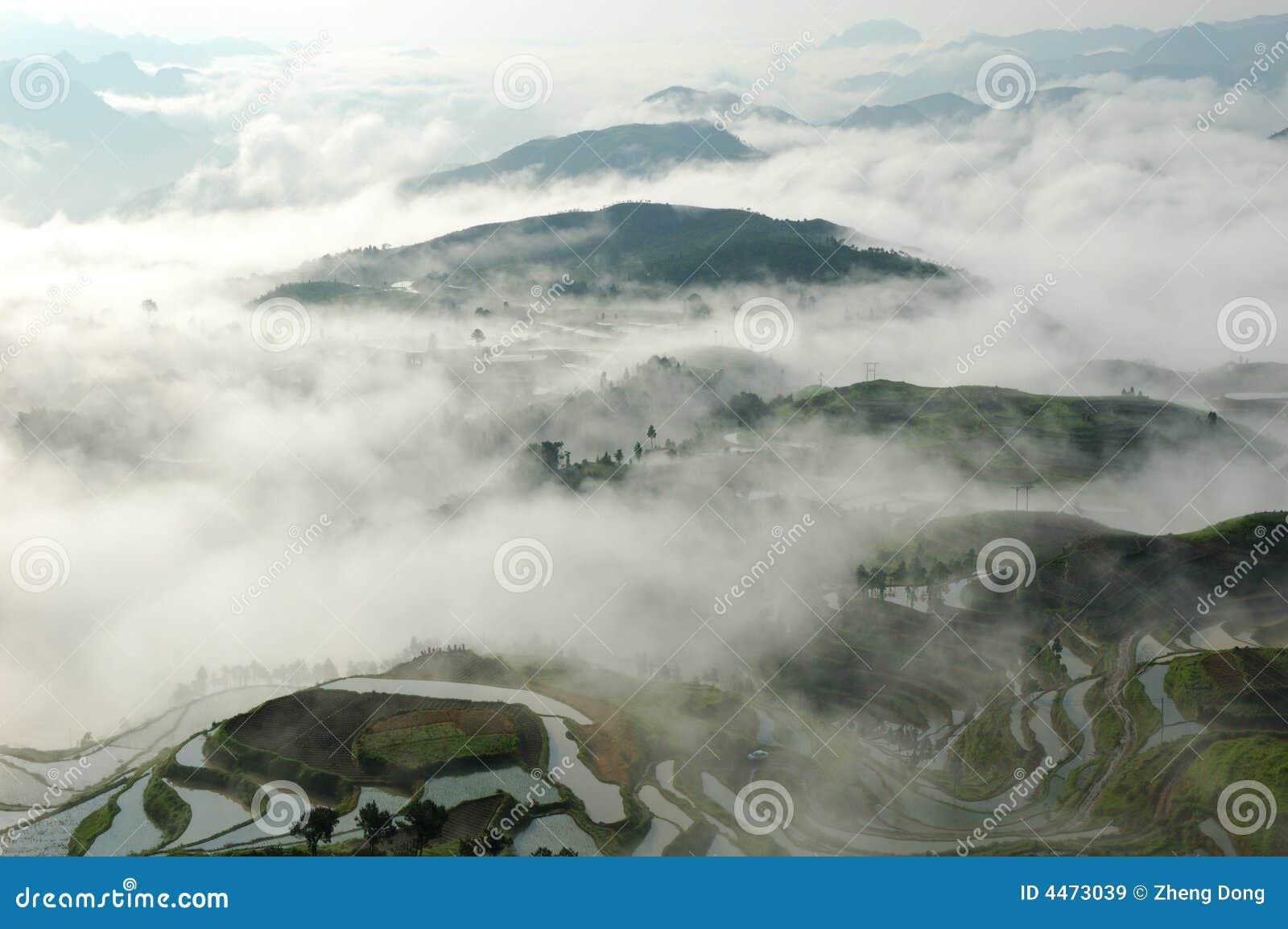 China-terassenförmig angelegte Felder
