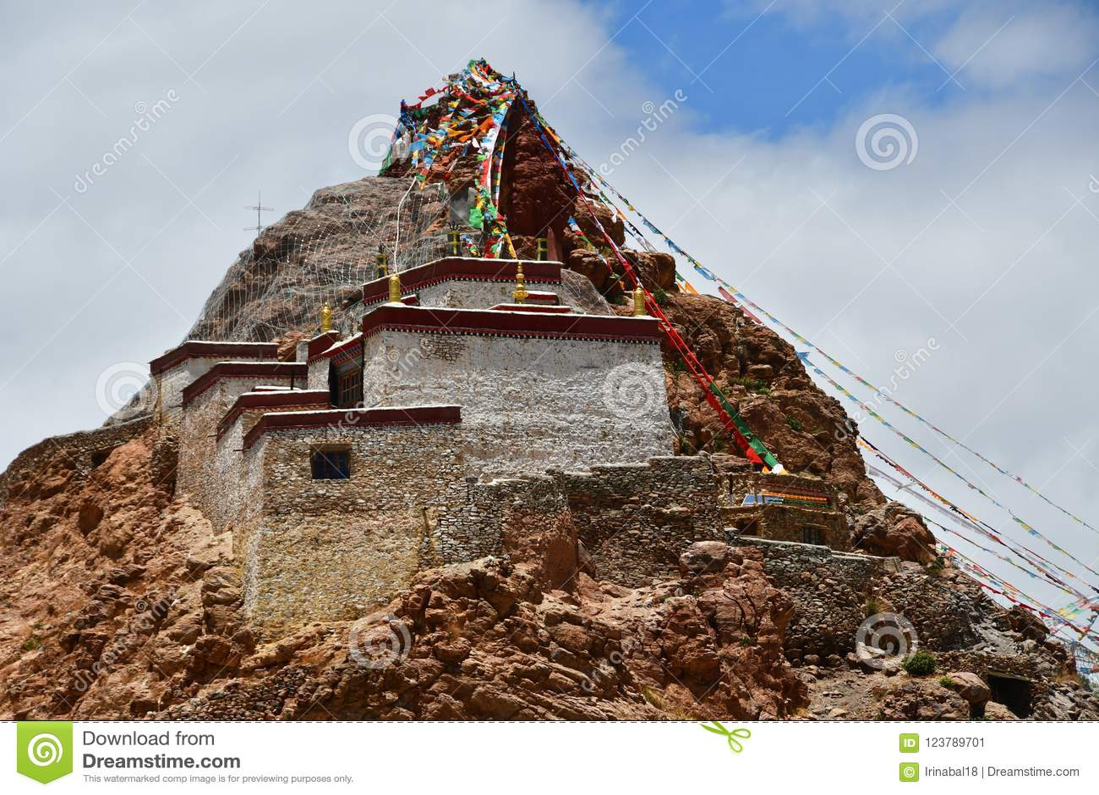China, Tibet, Chiu Gompa monastery on a hill on the shore of lake Manasarovar