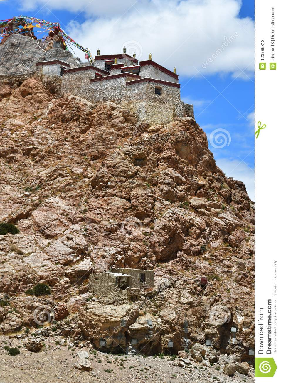 China, Tibet, Chiu Gompa monastery on the hill on the shore of lake Manasarovar
