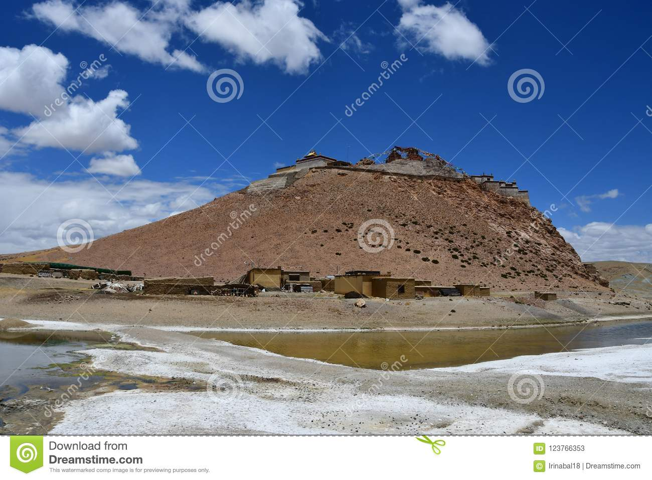 China, Tibet, Chiu Gompa monastery on a hill on the shore of lake Manasarovar