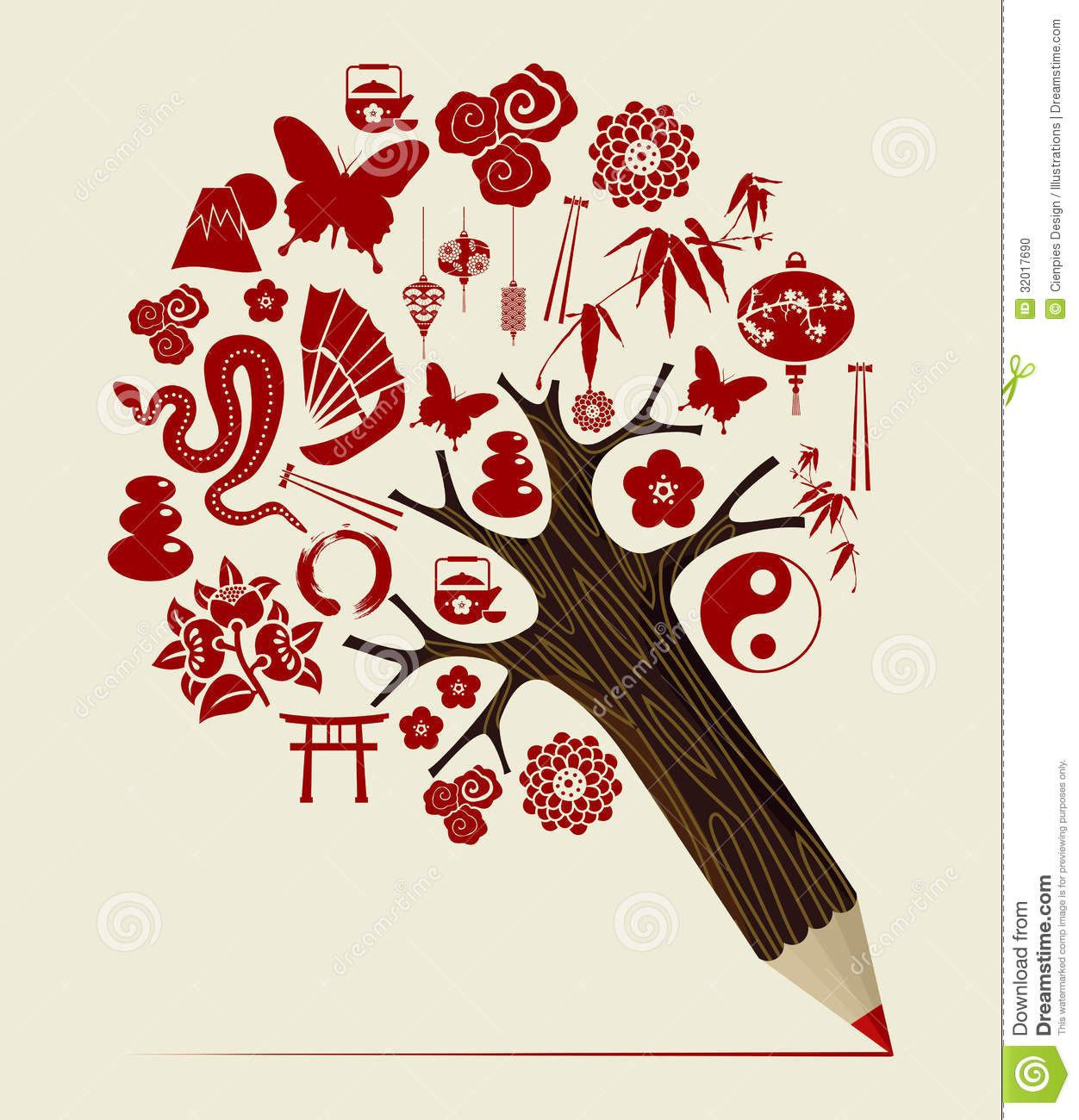 China Tradition Concept Pencil Tree Stock Vector