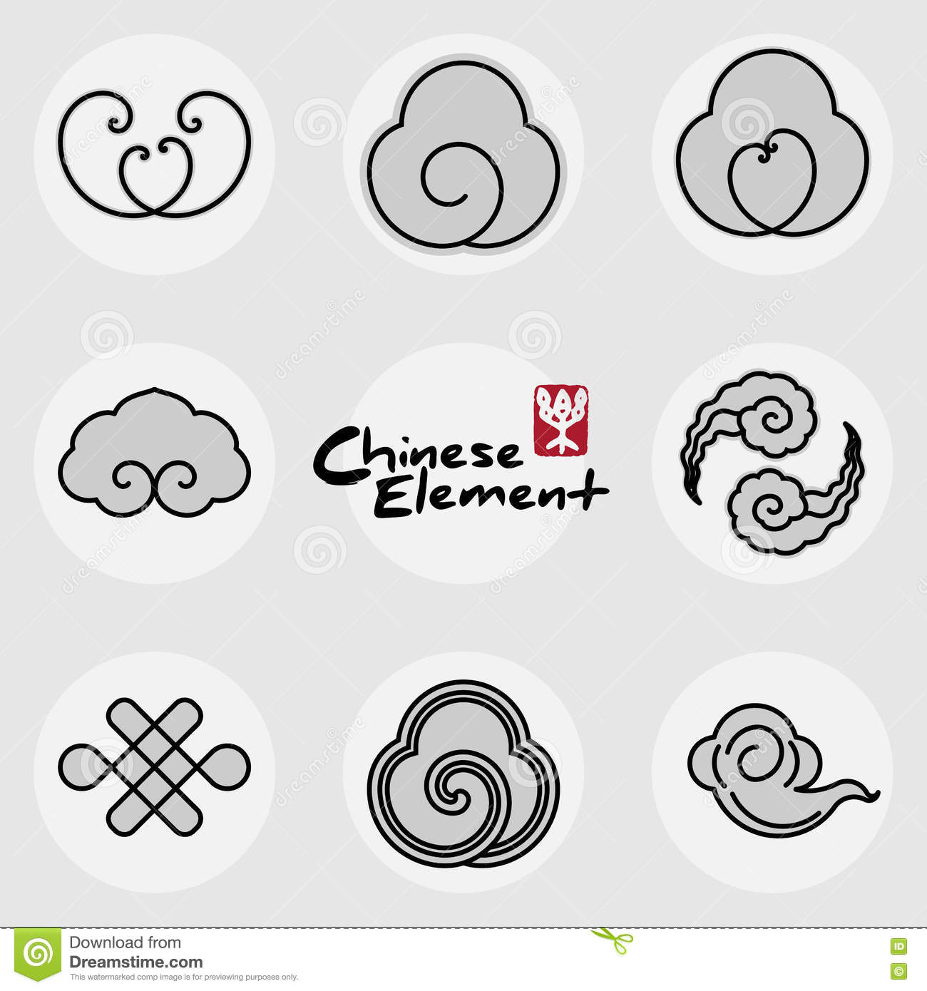 China traditional clouds icons pattern set stock vector china traditional clouds icons pattern set biocorpaavc Images