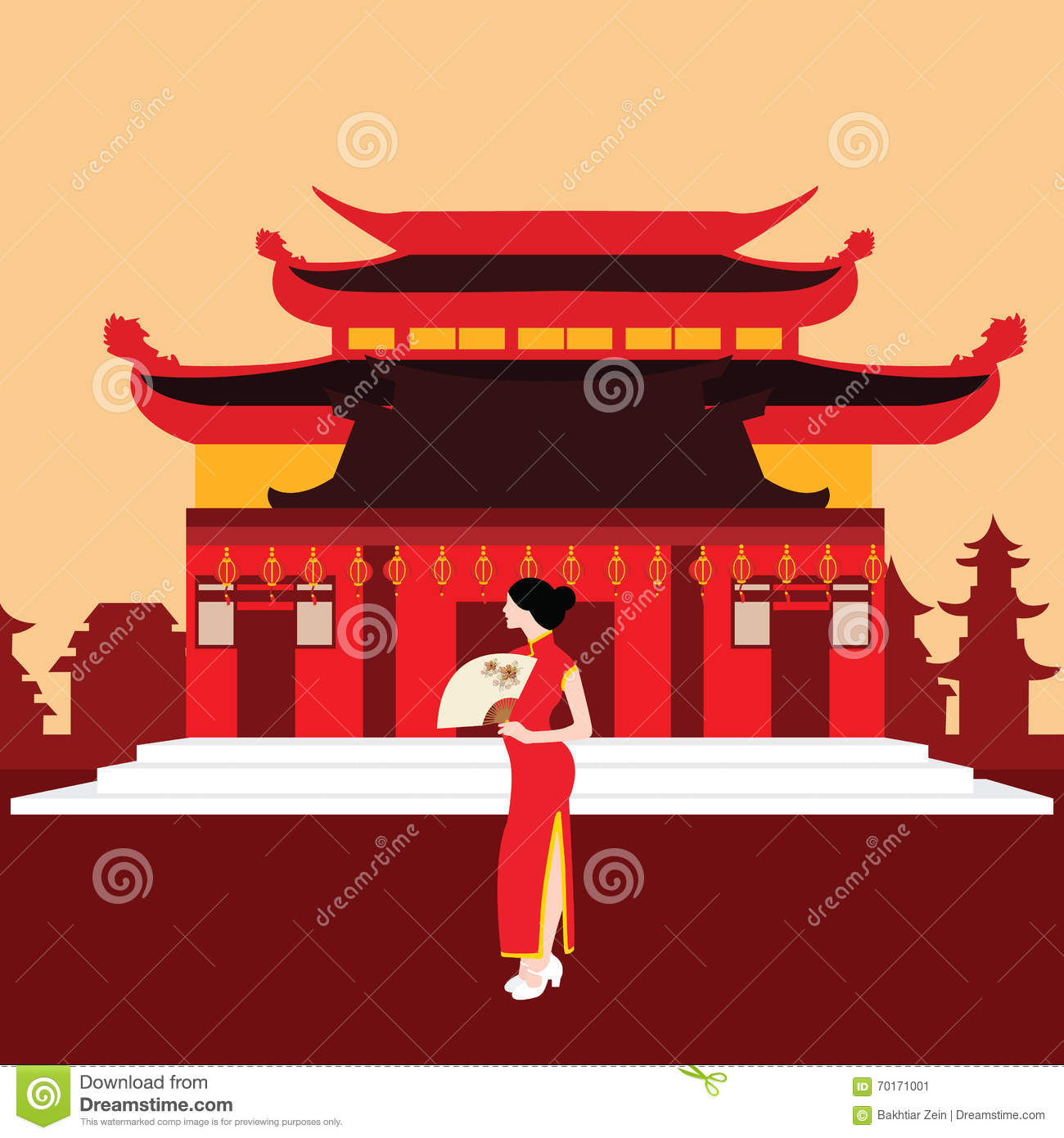Temple Texas Traditional Home: China Traditional Home House Temple Red With Chinese Woman