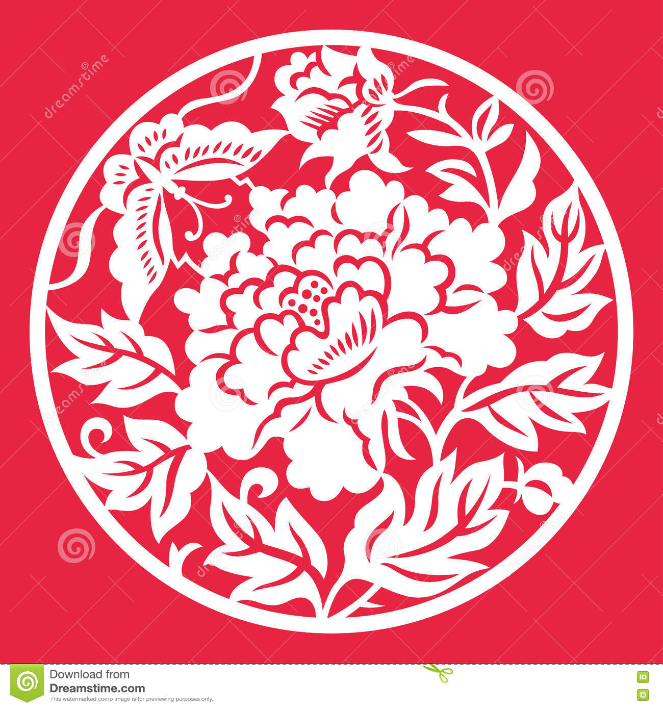 Chinese Paper Cut Peony Flower Stock Illustrations 58 Chinese