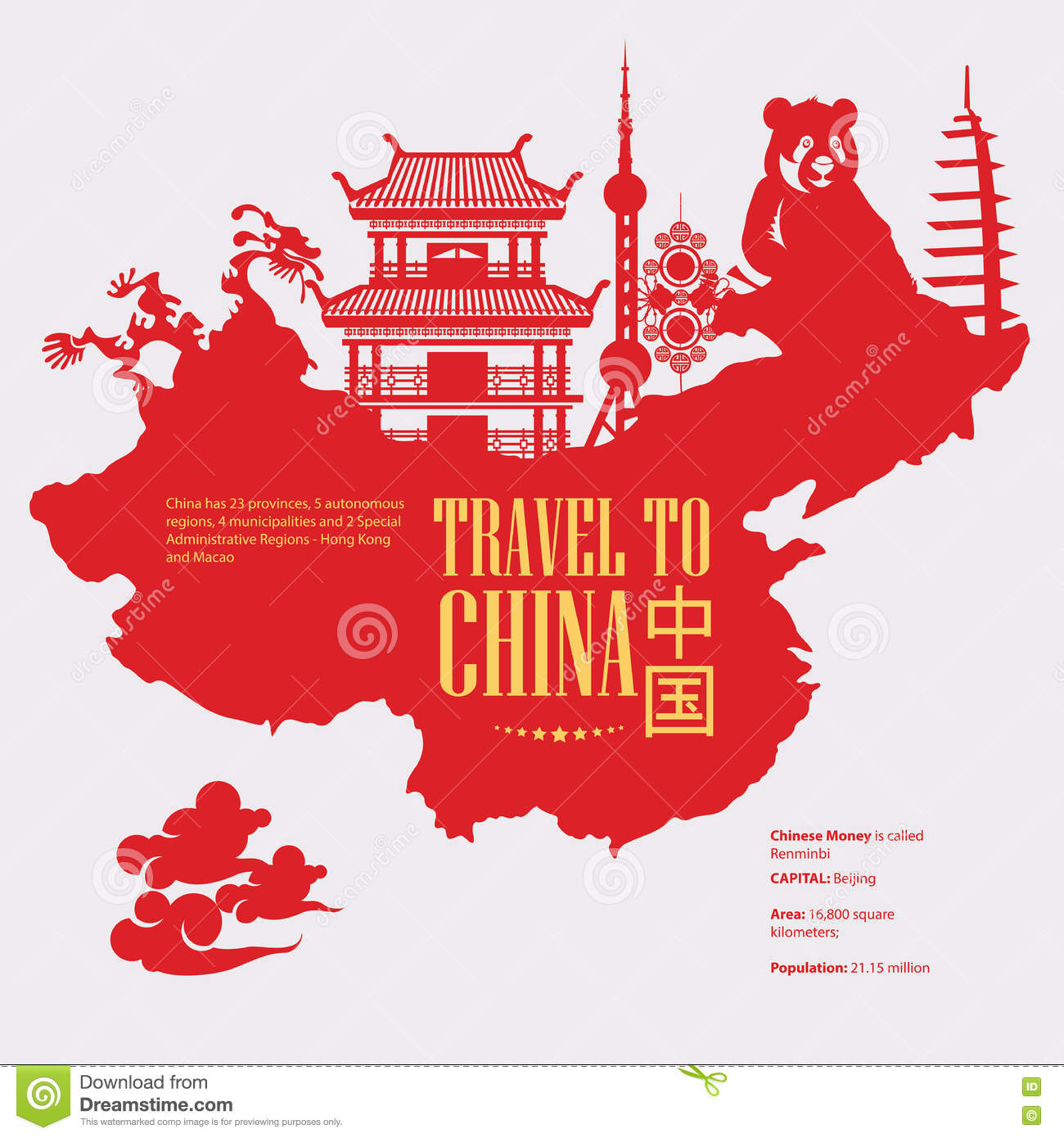 China Travel Illustration With Chinese Red Map Chinese Set With