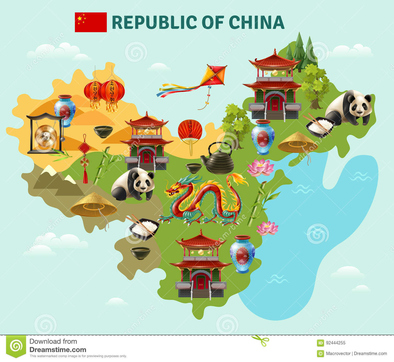 Tips For Traveling To China For The First Time: China Travel Sightseeing Map Poster Stock Vector