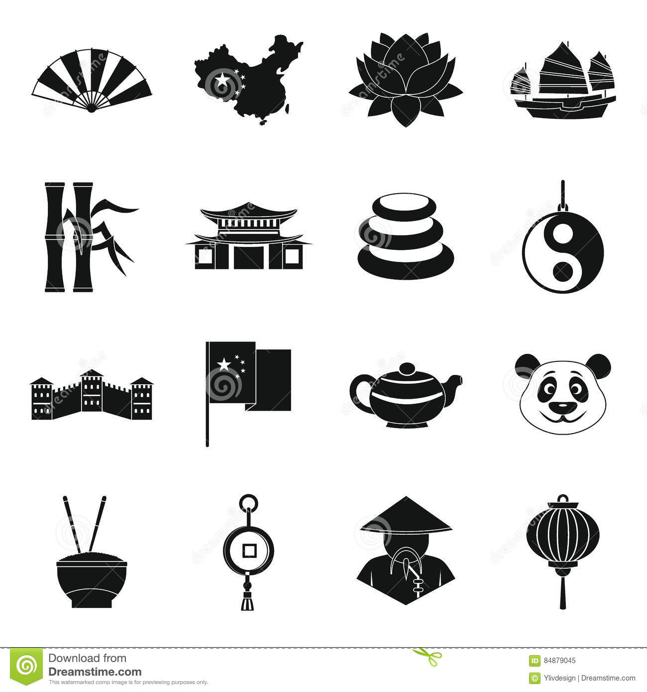 China travel symbols icons set, simple style
