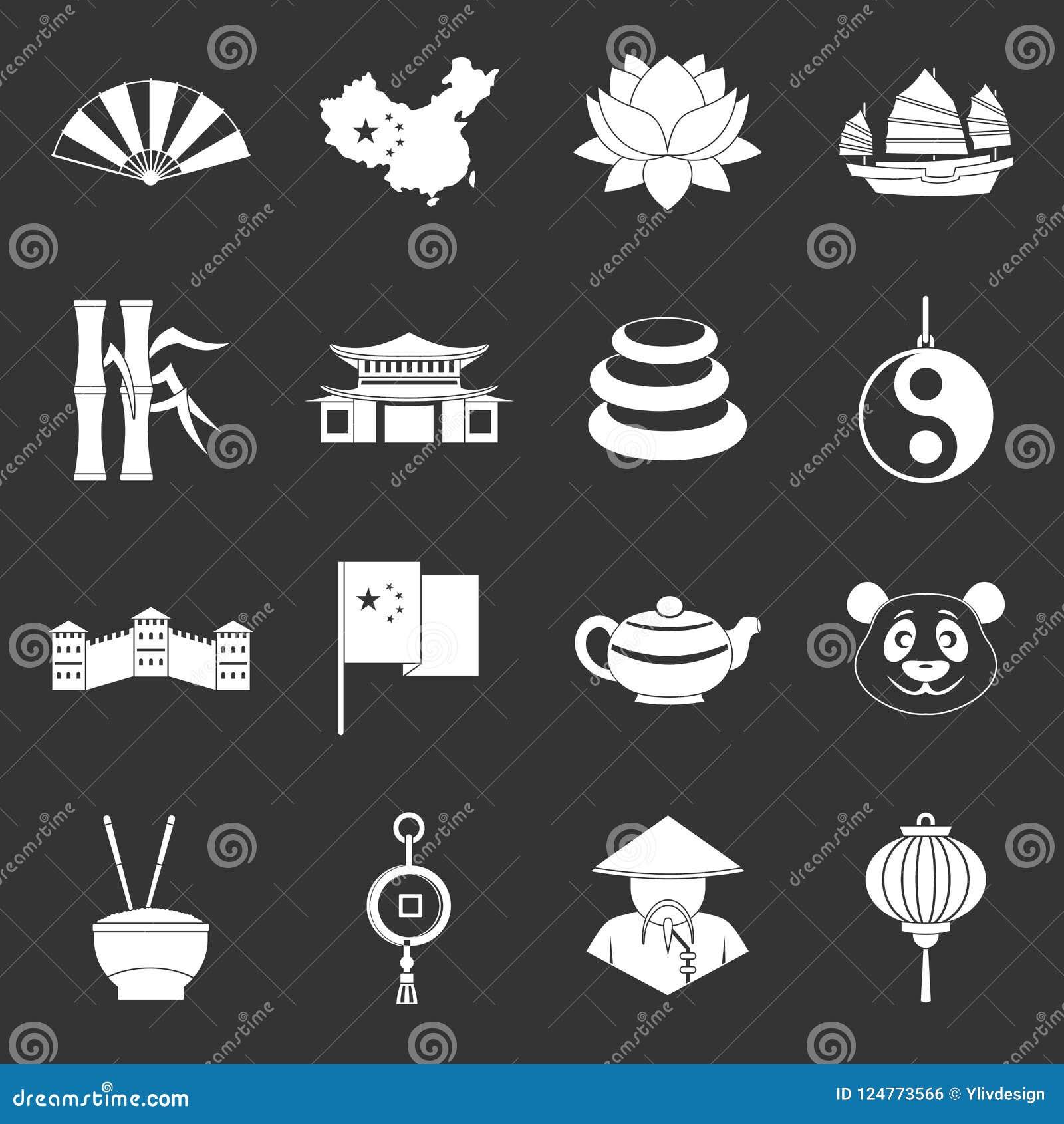 China travel symbols icons set grey