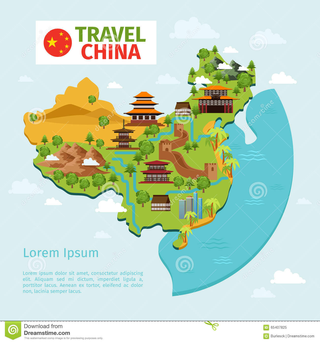 Countries Cultures China: China Travel Vector Map With Traditional Chinese Stock