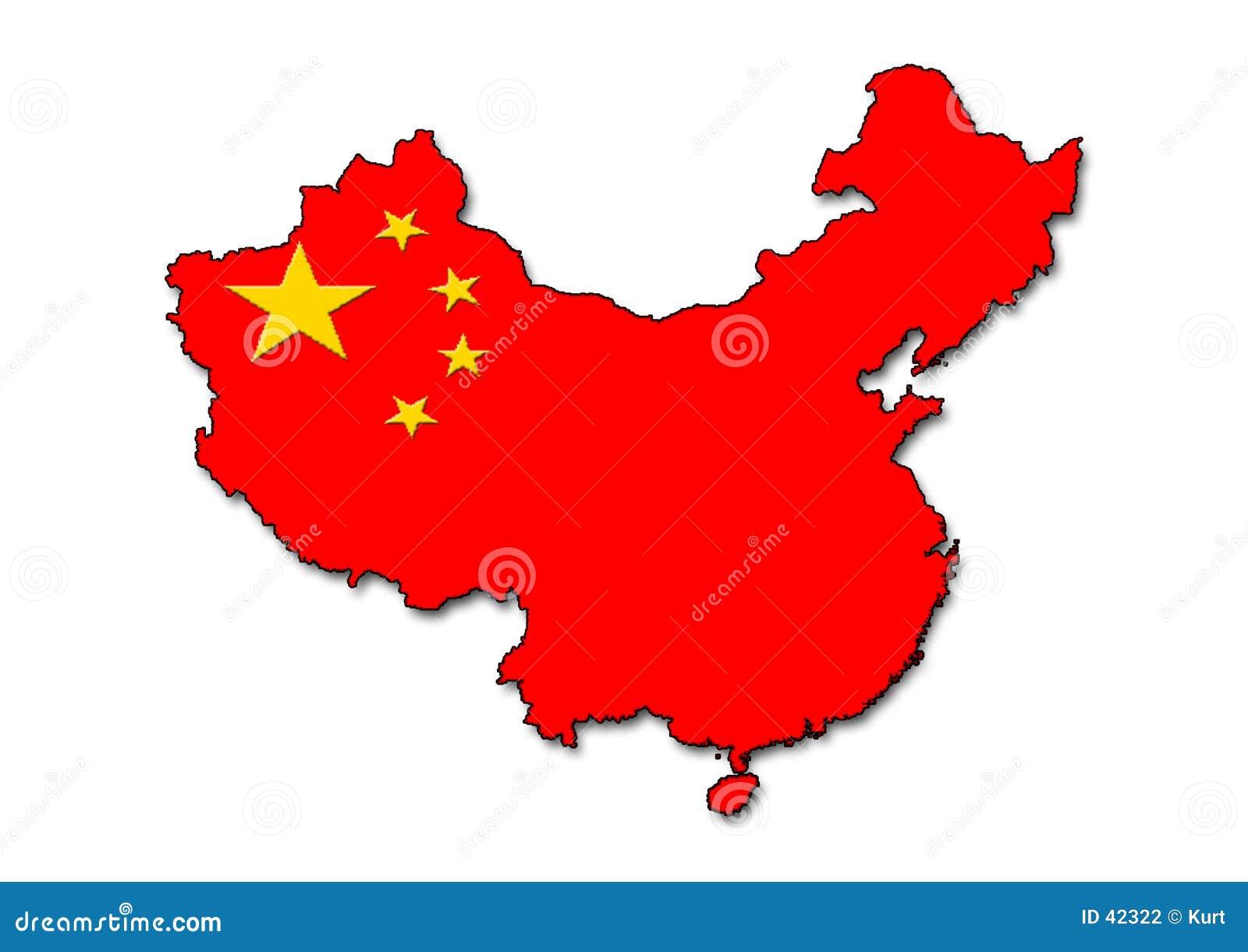 China-umreiß mit Markierungsfahne
