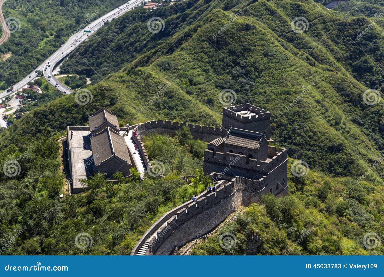 China Vista superior de un fragmento de la Gran Muralla de China