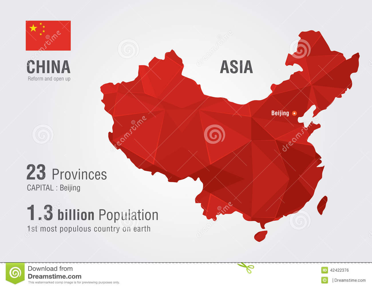 Chinese Flag Over World Map High-Res Vector Graphic