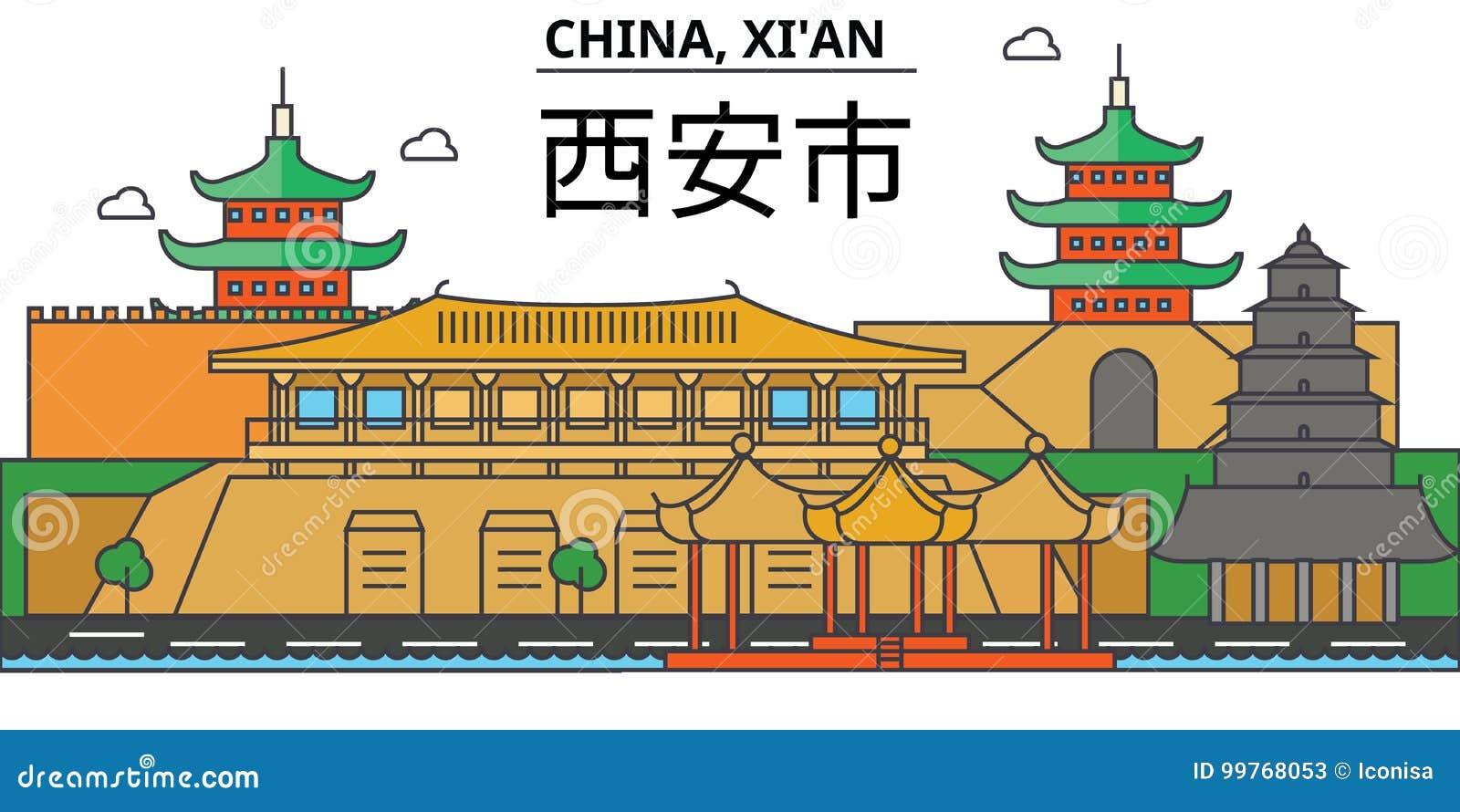 China, Xi De architectuur Editable van de stadshorizon