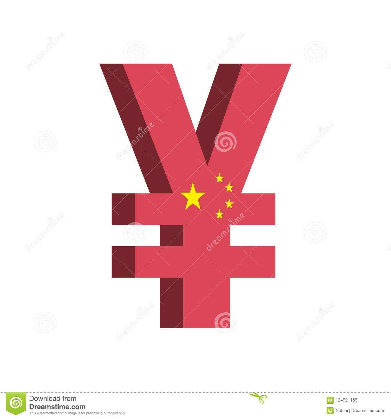 China Yuan Renminbi Cny Currency Symbol With Flag Vector Stock