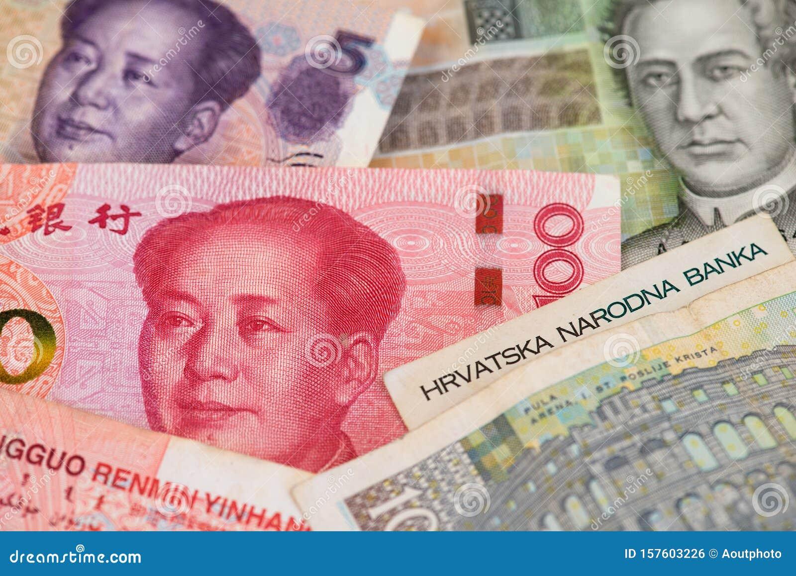 China Yuan Renminbi With Croatia Kuna Currency Banknotes