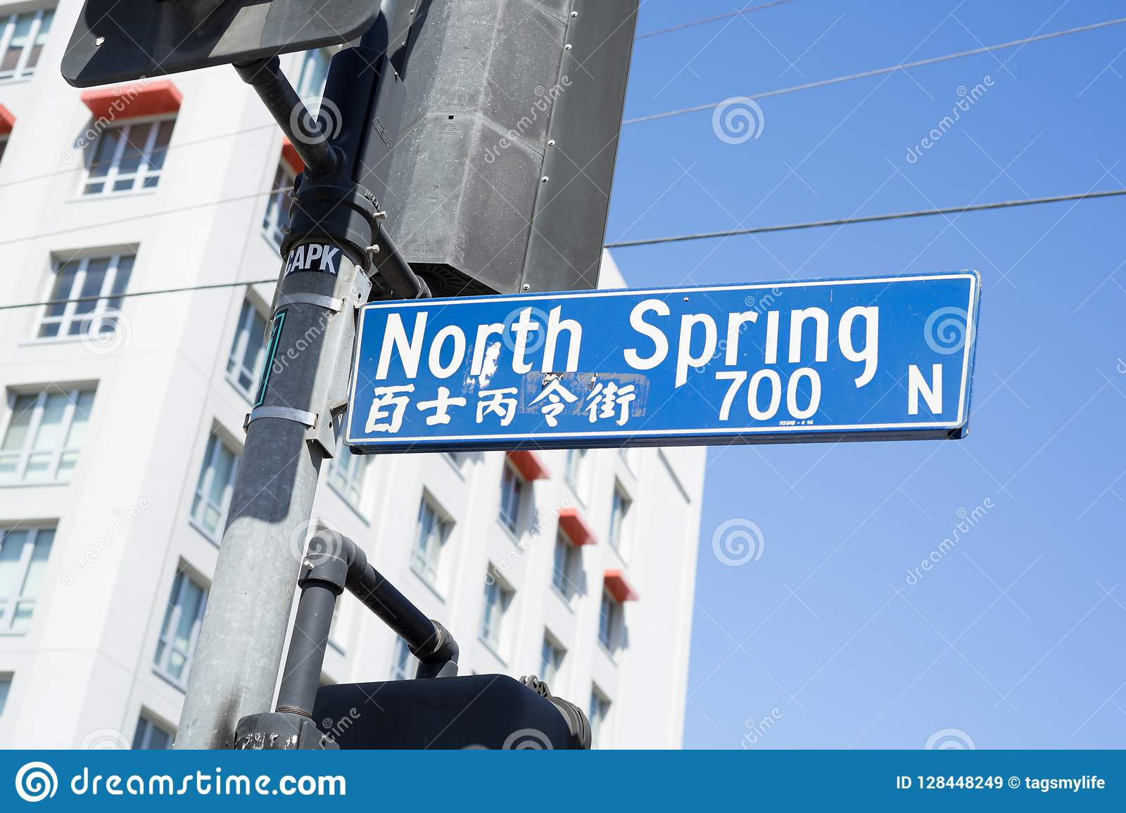 Chinatown In LA Have Chinese Road Name And English Editorial