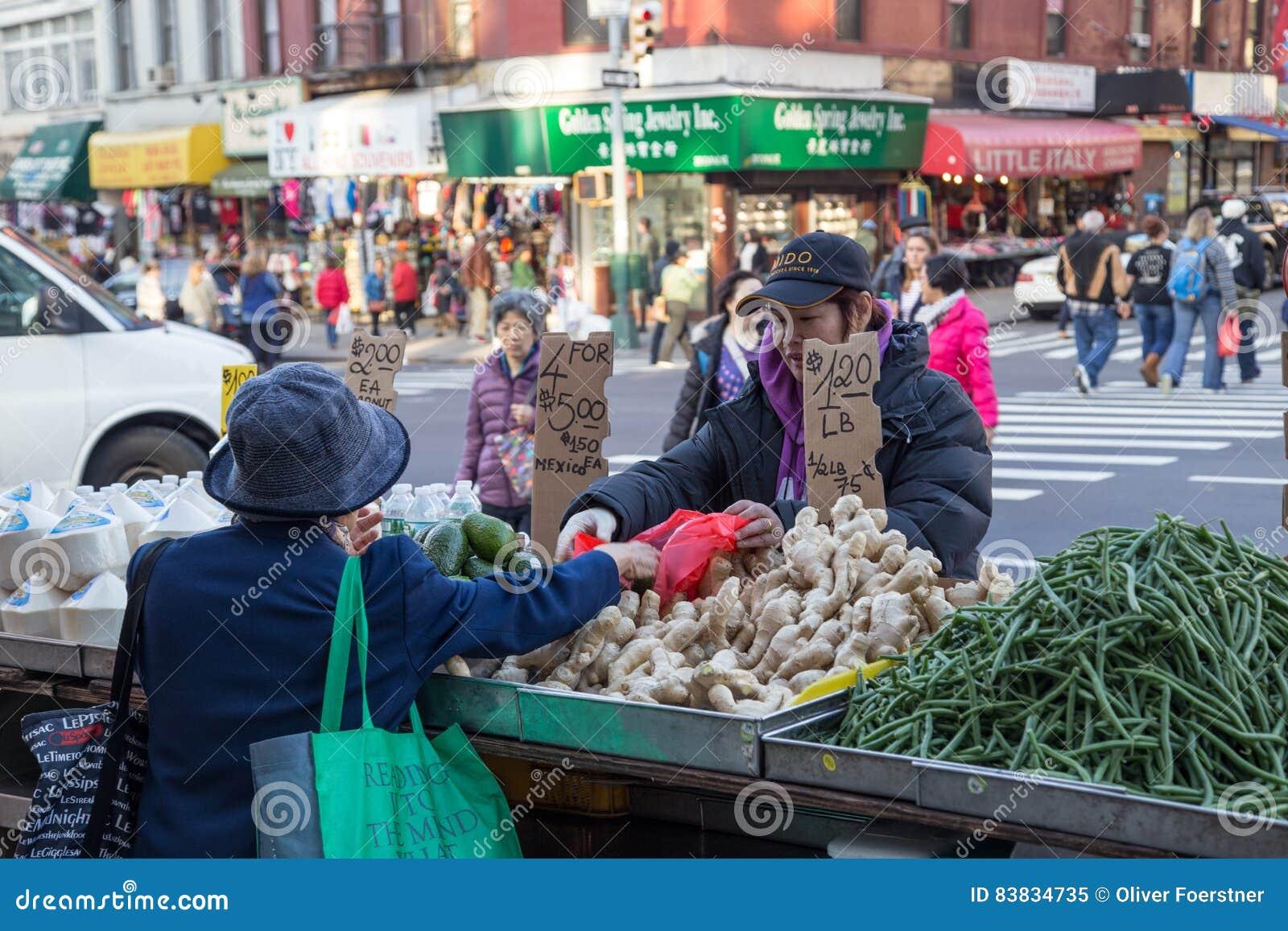 Chinatown market stalls in New York City