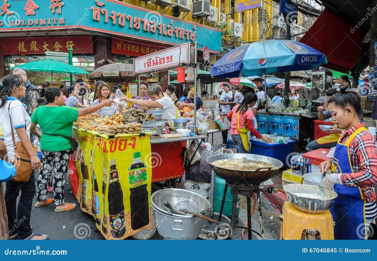 Chinatown street food market in Bangkok, Thailand