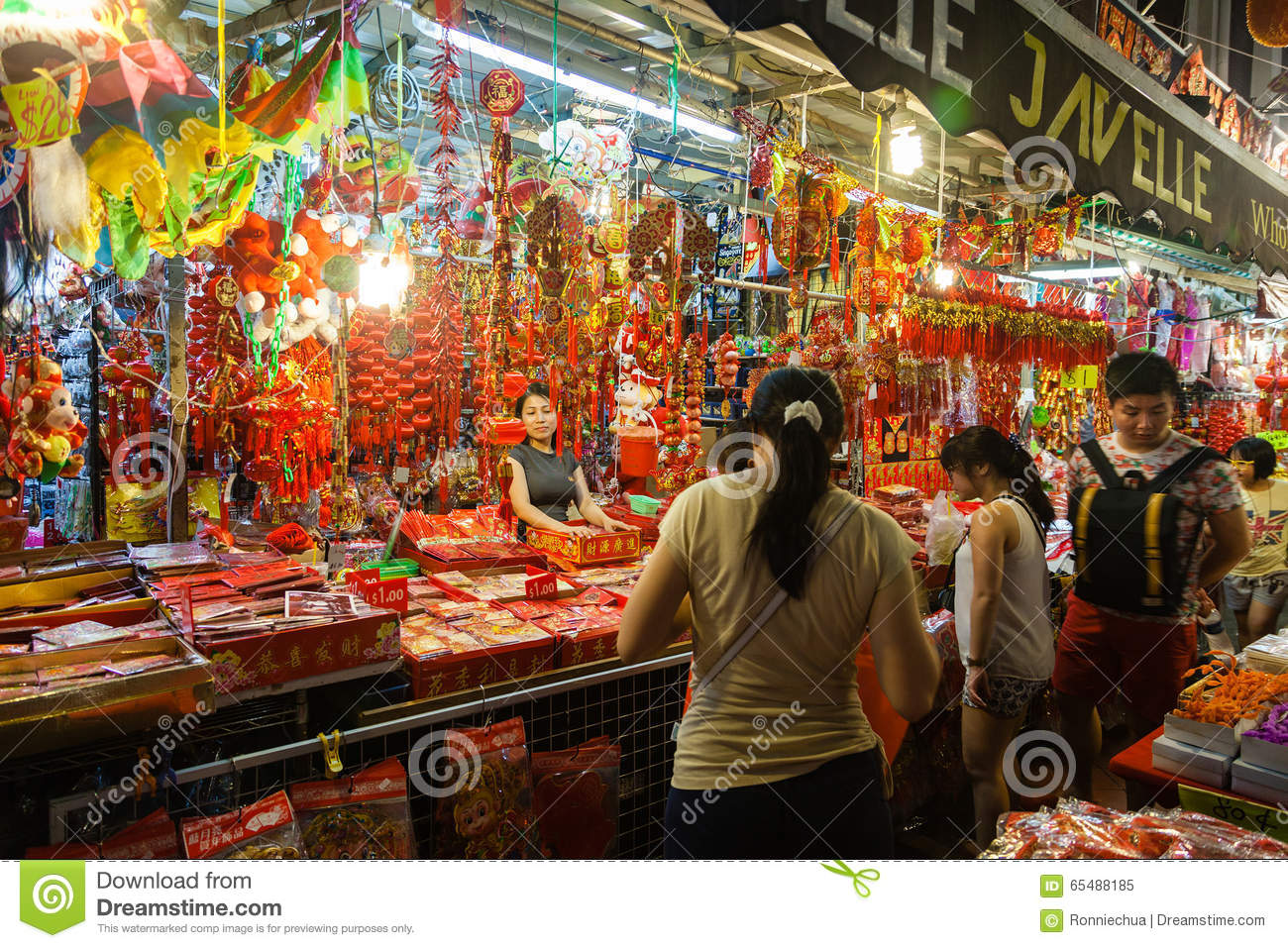 Chinatown vendor selling chinese new year decorations for Decor vendors