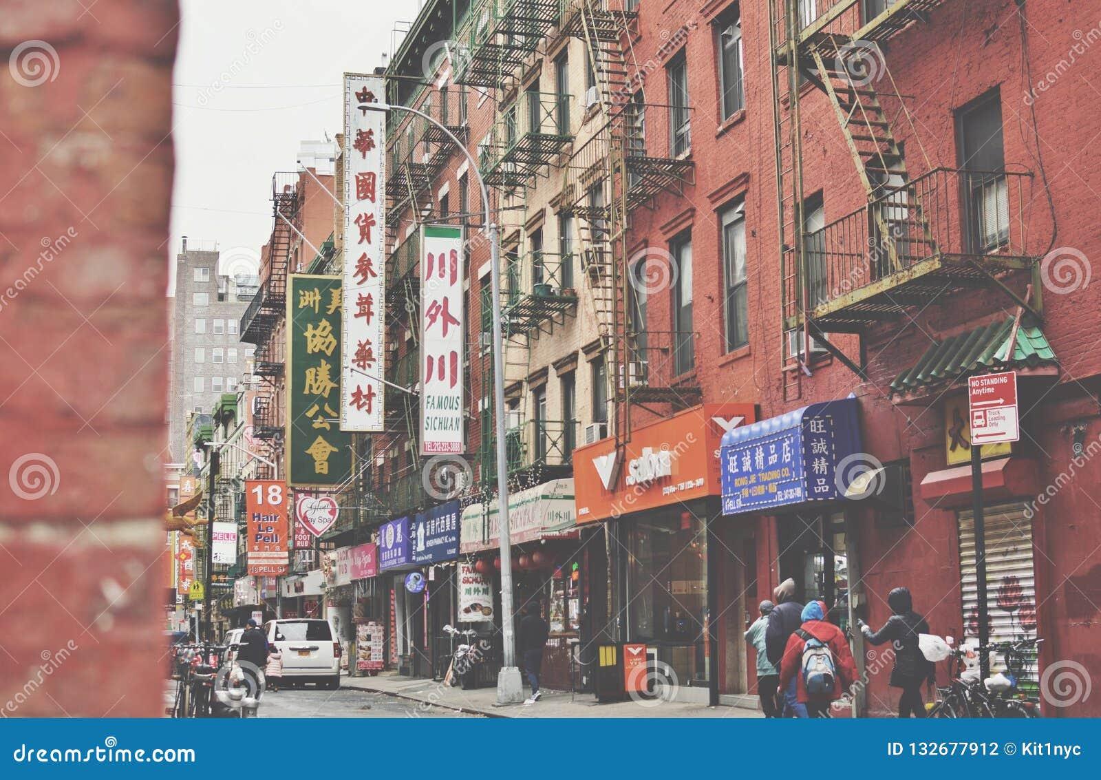 Chinatown viejo Nueva York frondosa y ciudad de las calles de Pell Street Lower East Side NYC