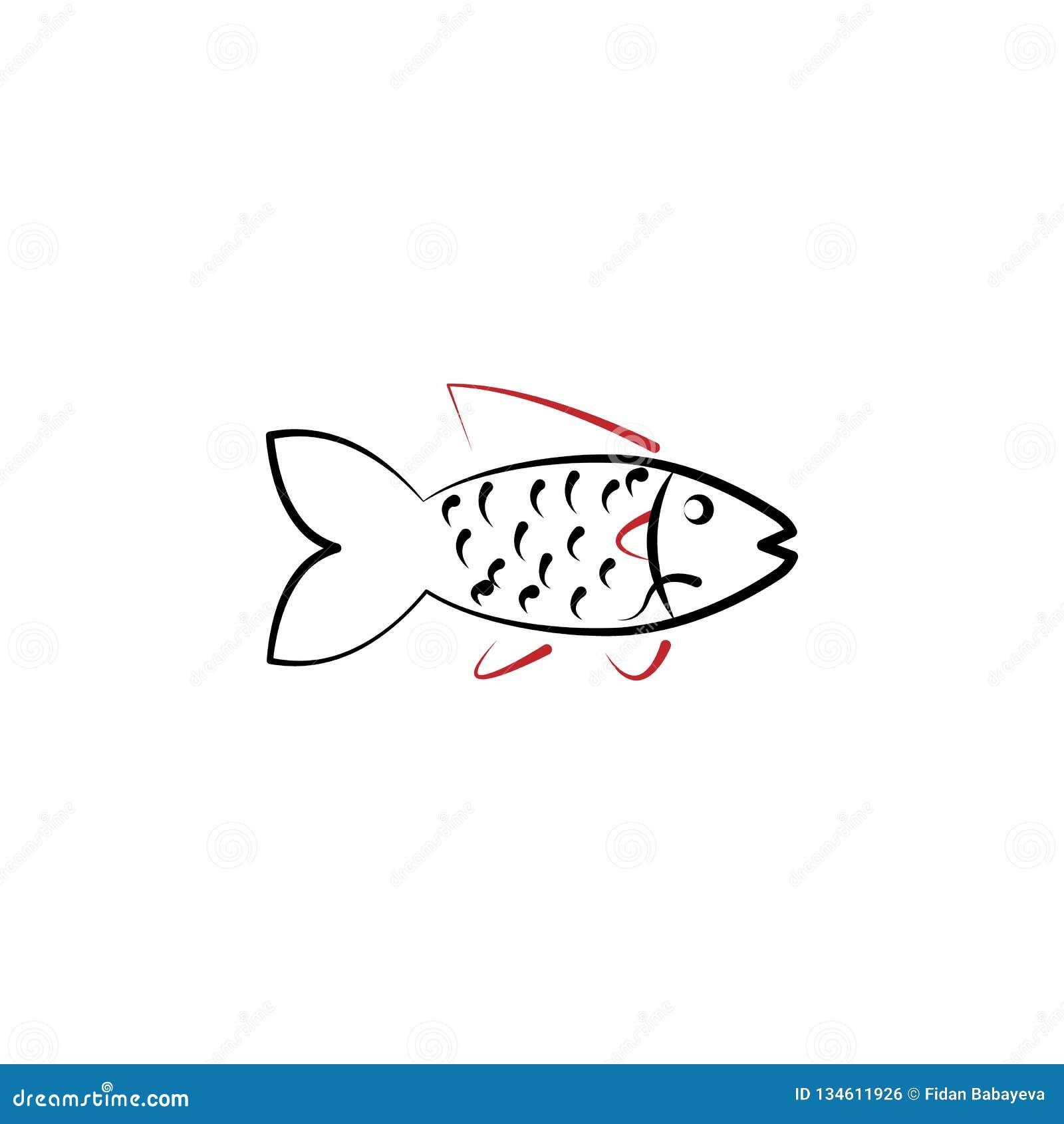 Chinees nieuw jaar, vissenpictogram Kan voor Web, embleem, mobiele toepassing, UI, UX worden gebruikt