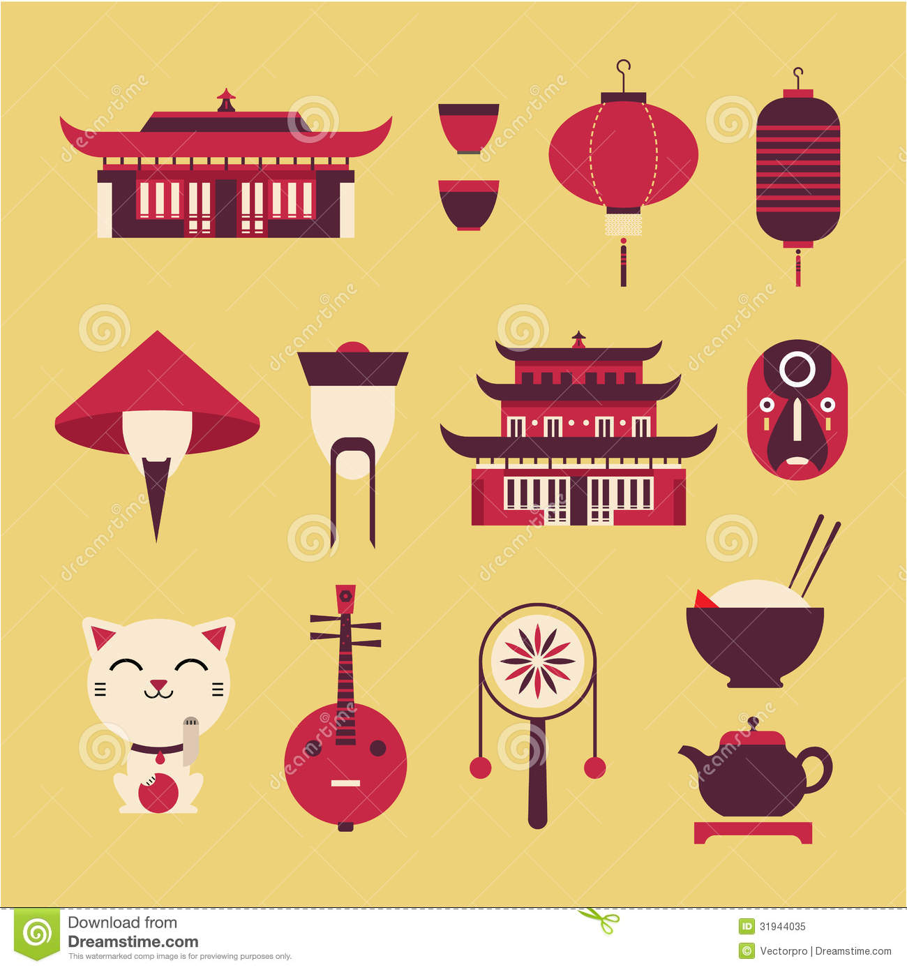 Chineese Travel Icons Royalty Free Stock Photo Image