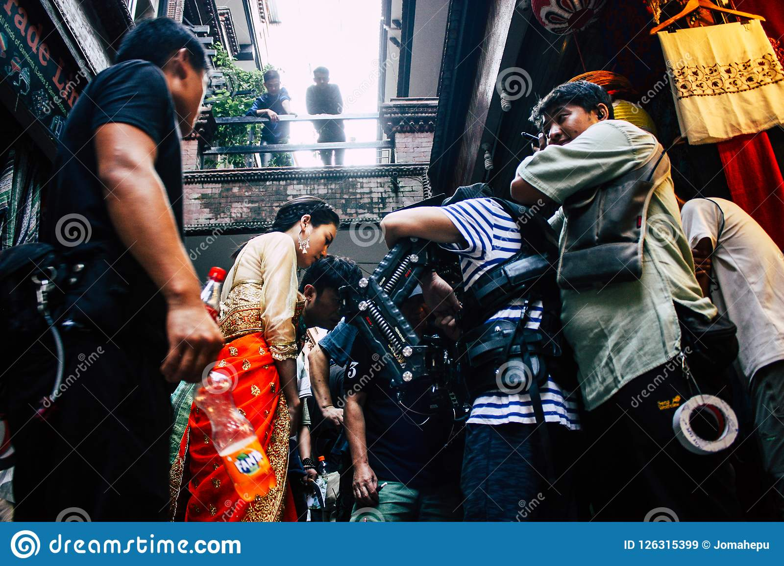 Chinese action movie. Kathmandu Nepal September 7, 2018 View of the setting of the camera by the technical team for an action scene of a Chinese movie shot in Royalty Free Stock Images