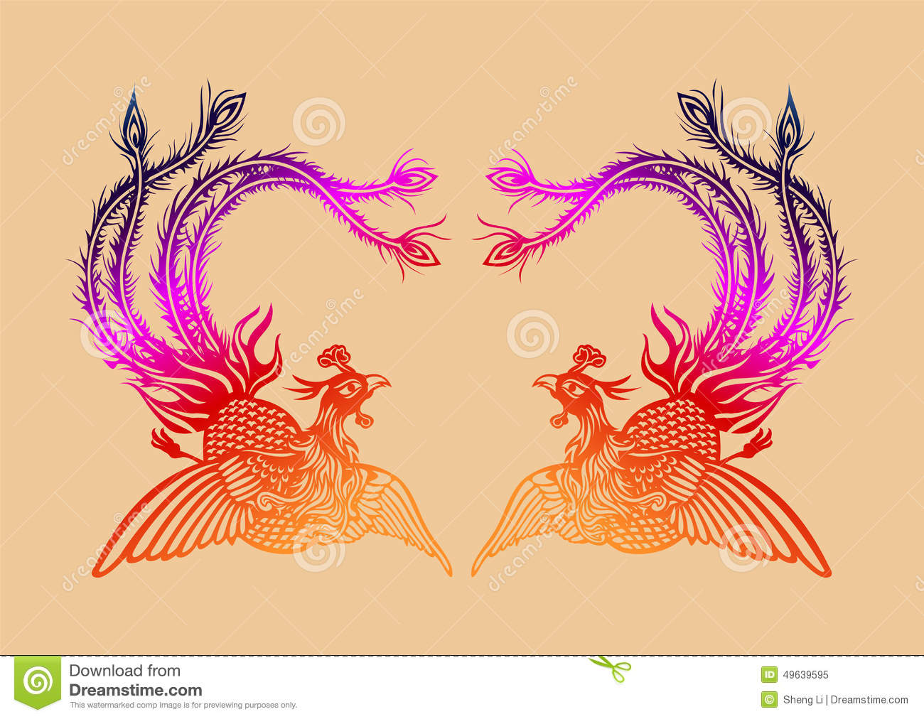 Chinese Ancient Phoenix Pattern Stock Vector - Illustration of ...