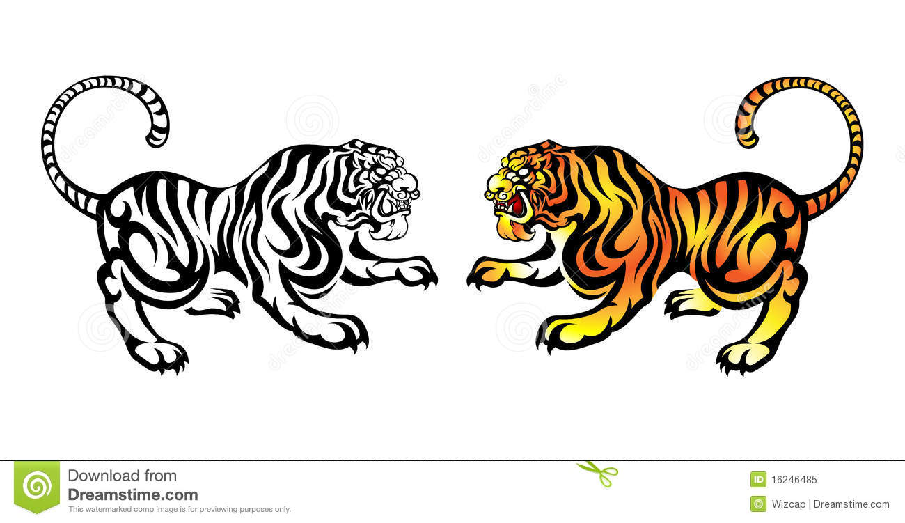 Chinese Ancient Style Tiger Stock Vector Illustration Of Sign