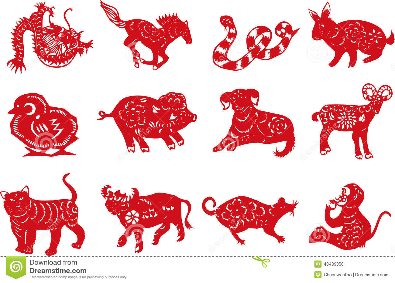 Chinese Animal Paper-cut Stock Vector - Image: 48489856