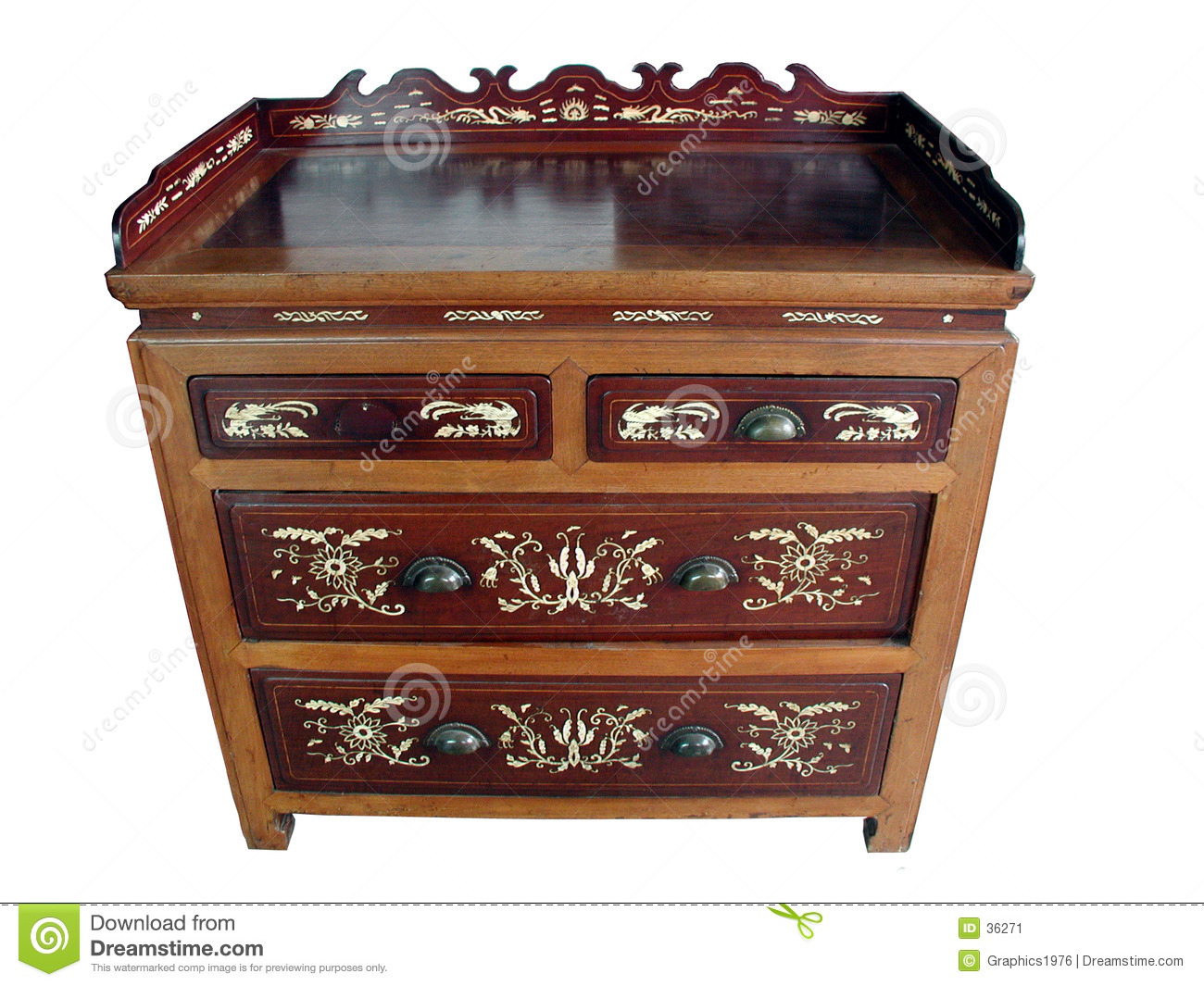 Chinese antique bone-inlay cabinet (isolated)