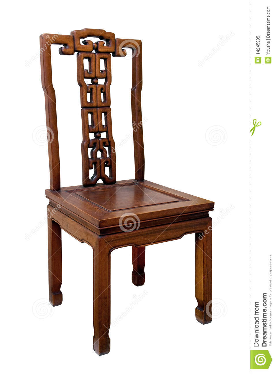 Chinese Antique Chair Isolated On White Background Royalty