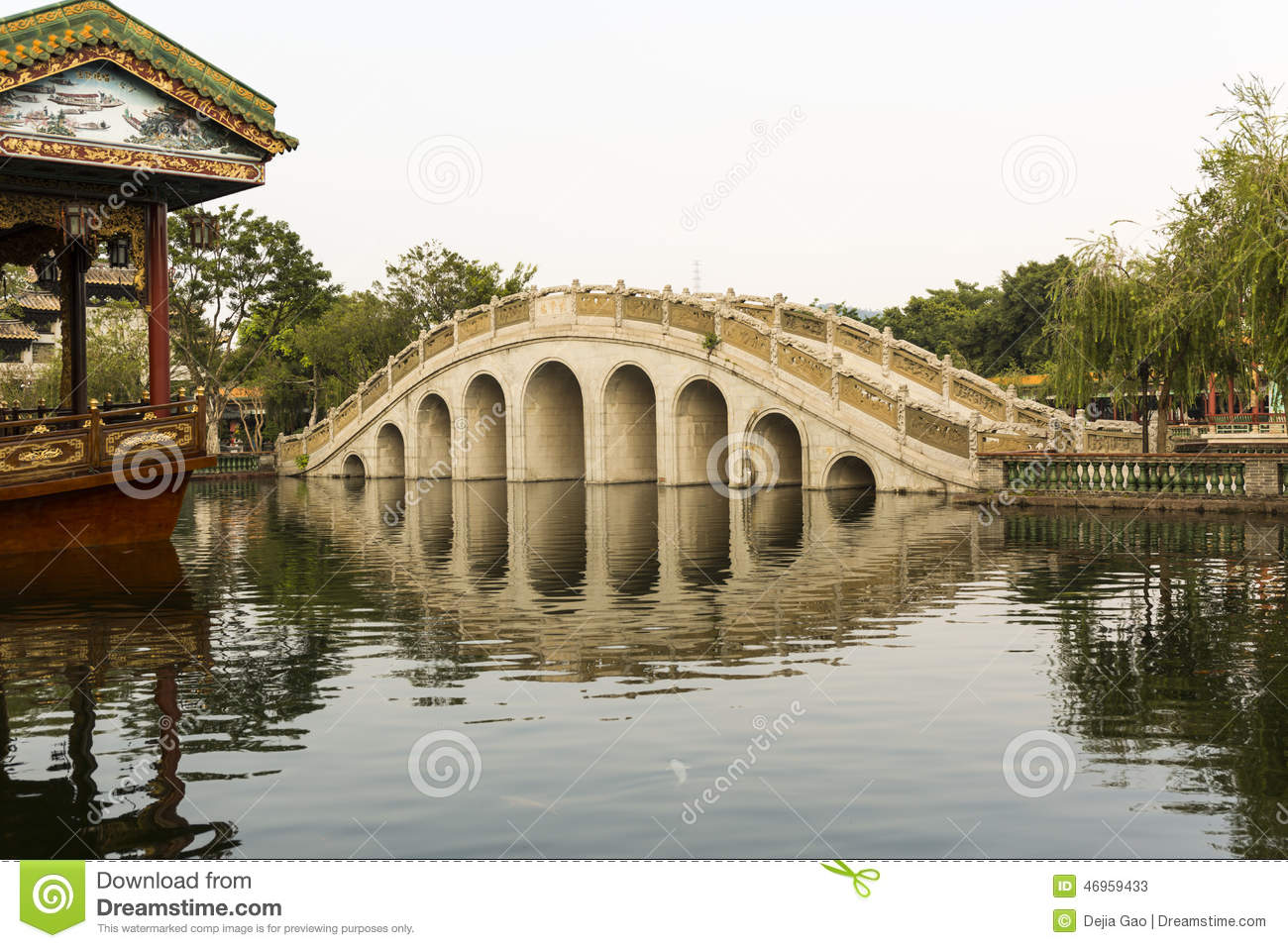 Asian arch bridge in chinese garden stock photo image for Architecture orientale