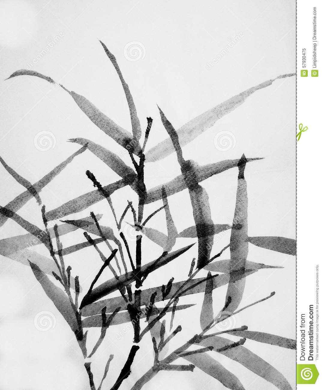 Chinese Art: Sumi Bamboo Stock Illustration - Image: 57930475