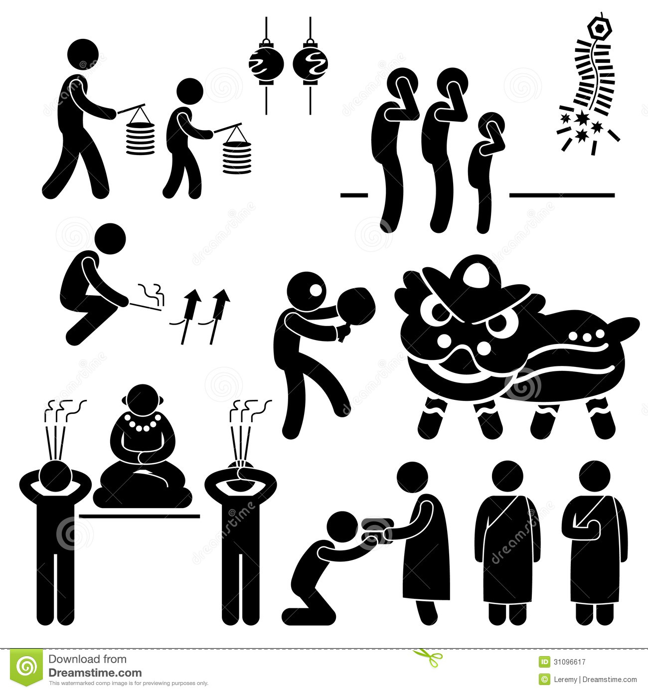 Chinese Asian Religion Tradition Stick Figure Pict