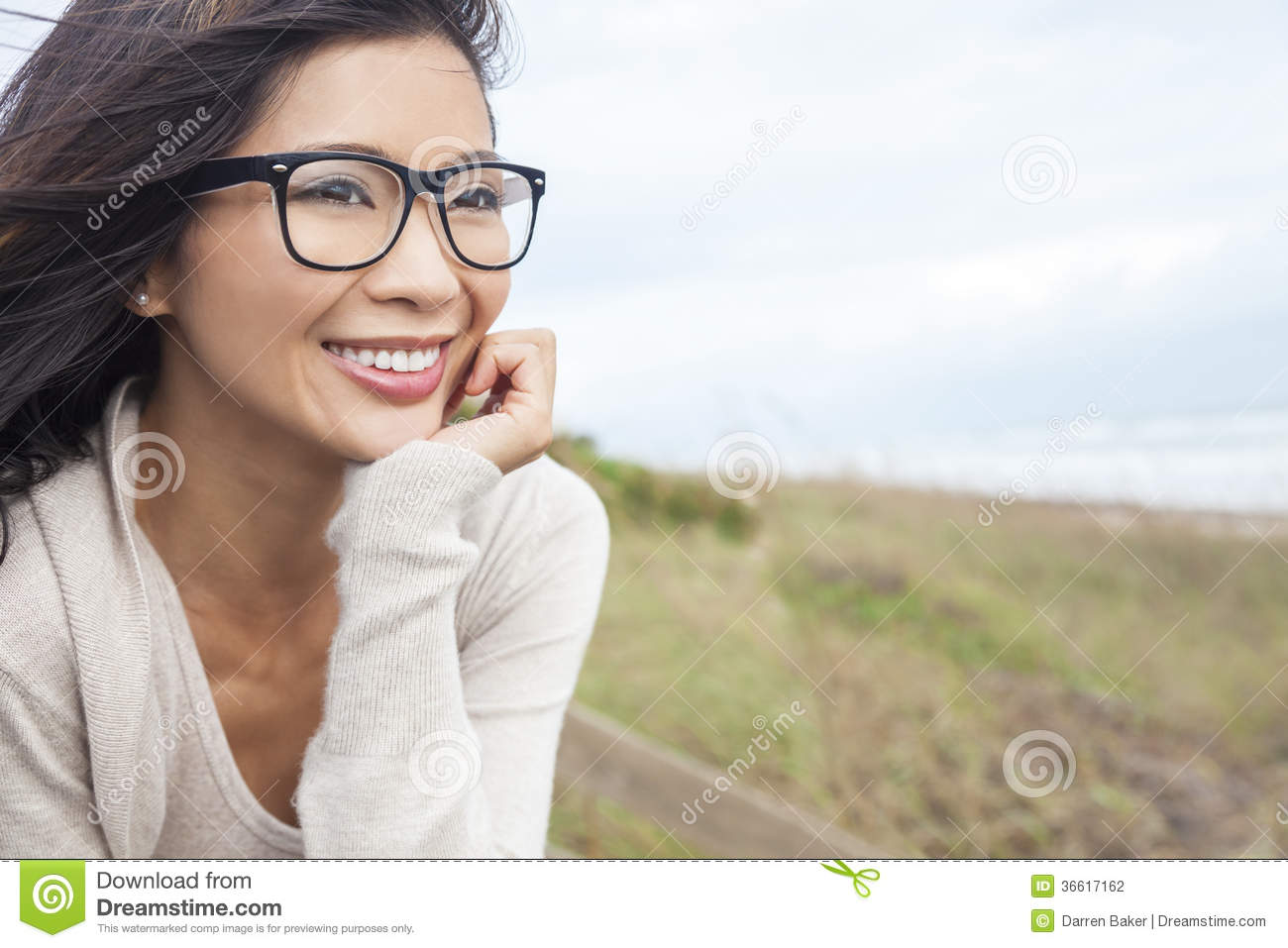 Chinese Asian Woman Wearing Glasses Stock Photo - Image -7184