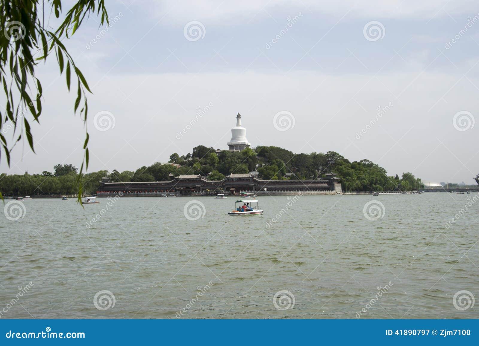 Chinese Asien, Peking, Beihai Park, Qionghua-Insel, Wasserkreuzfahrt, szenisch