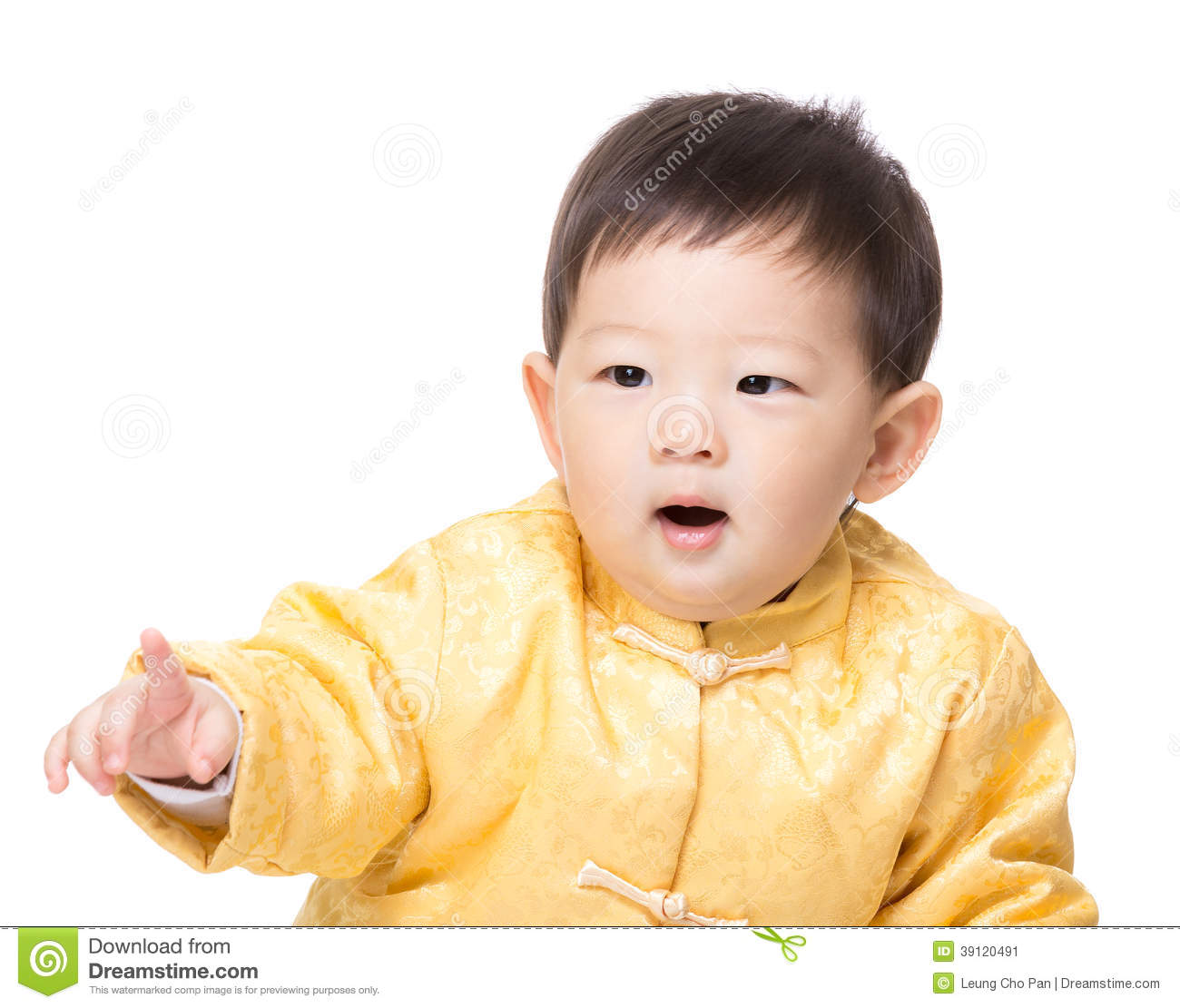 Chinese Baby Boy Finger Pointing Towards Stock Photo ... Cute Baby Pointing Finger