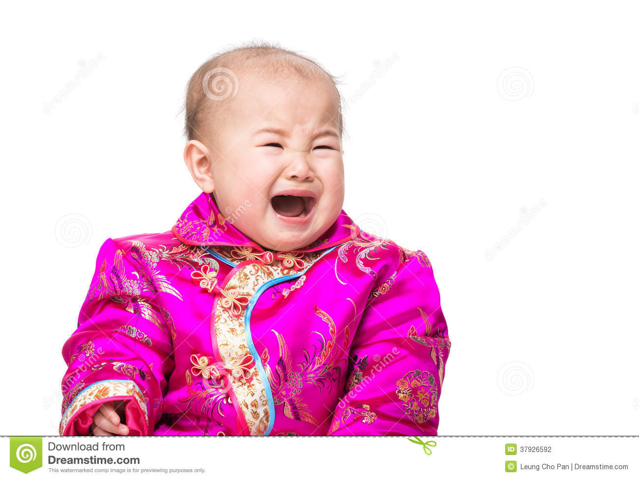 Asian Infant In To Cry From Drowsiness Stock Image - Image