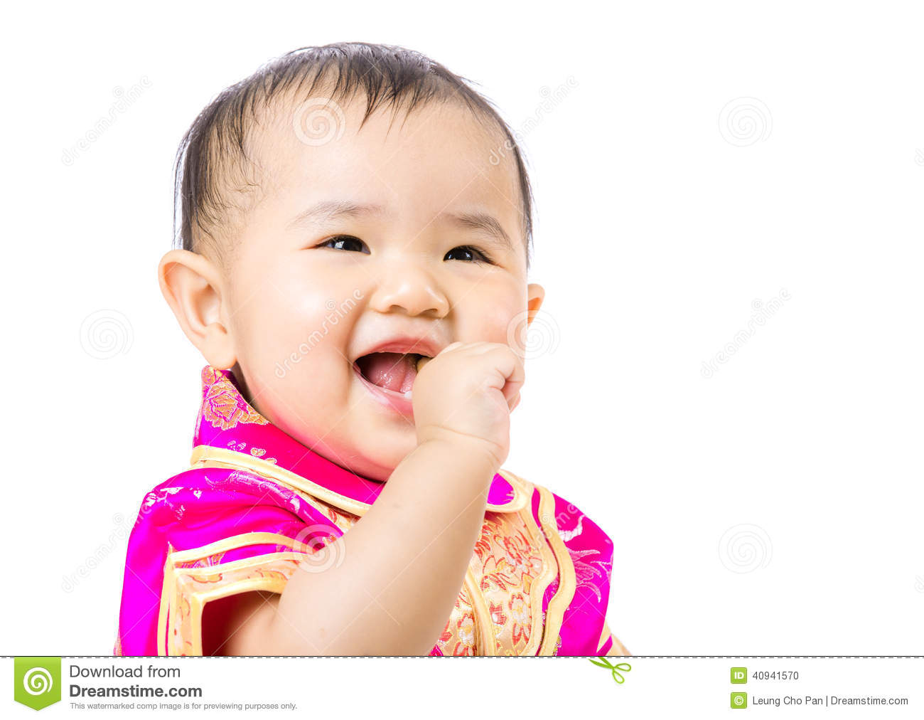 Chinese baby girl excited