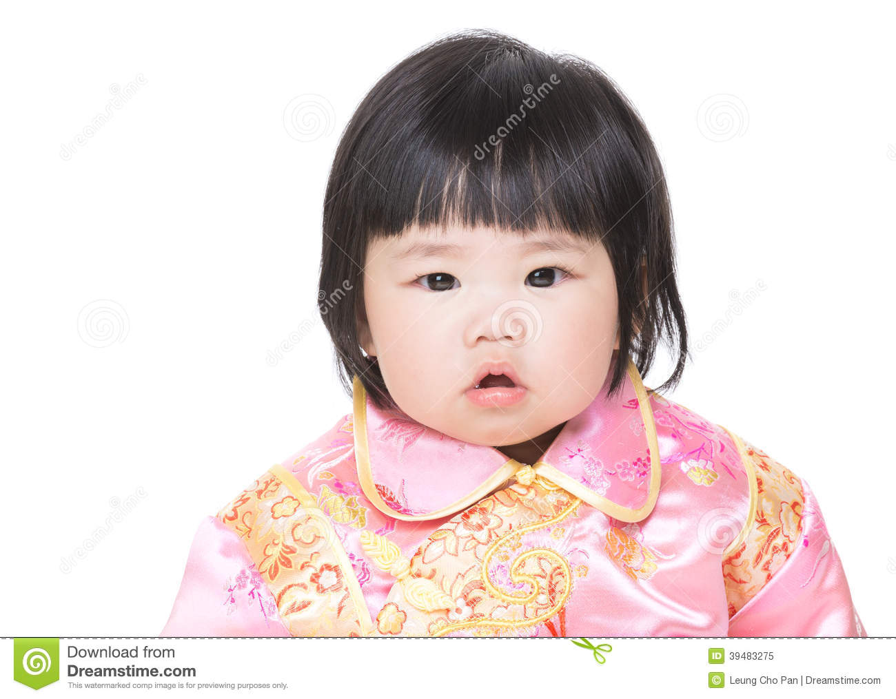 Chinese baby girl isolated
