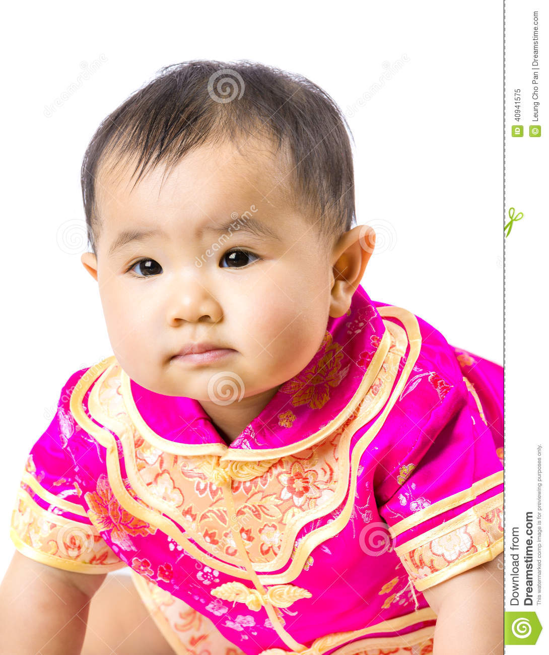 Chinese baby girl with traditional costume