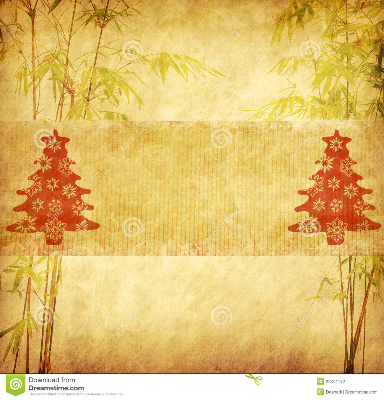 Chinese Bamboo Trees With Texture Of Handmade Paper Stock
