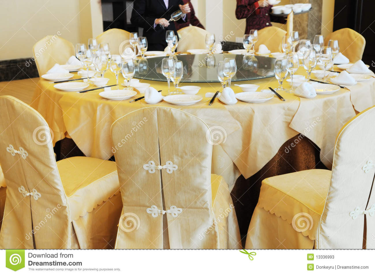 Restaurant table setup - Chinese Banquette Table Setting Stock Photos