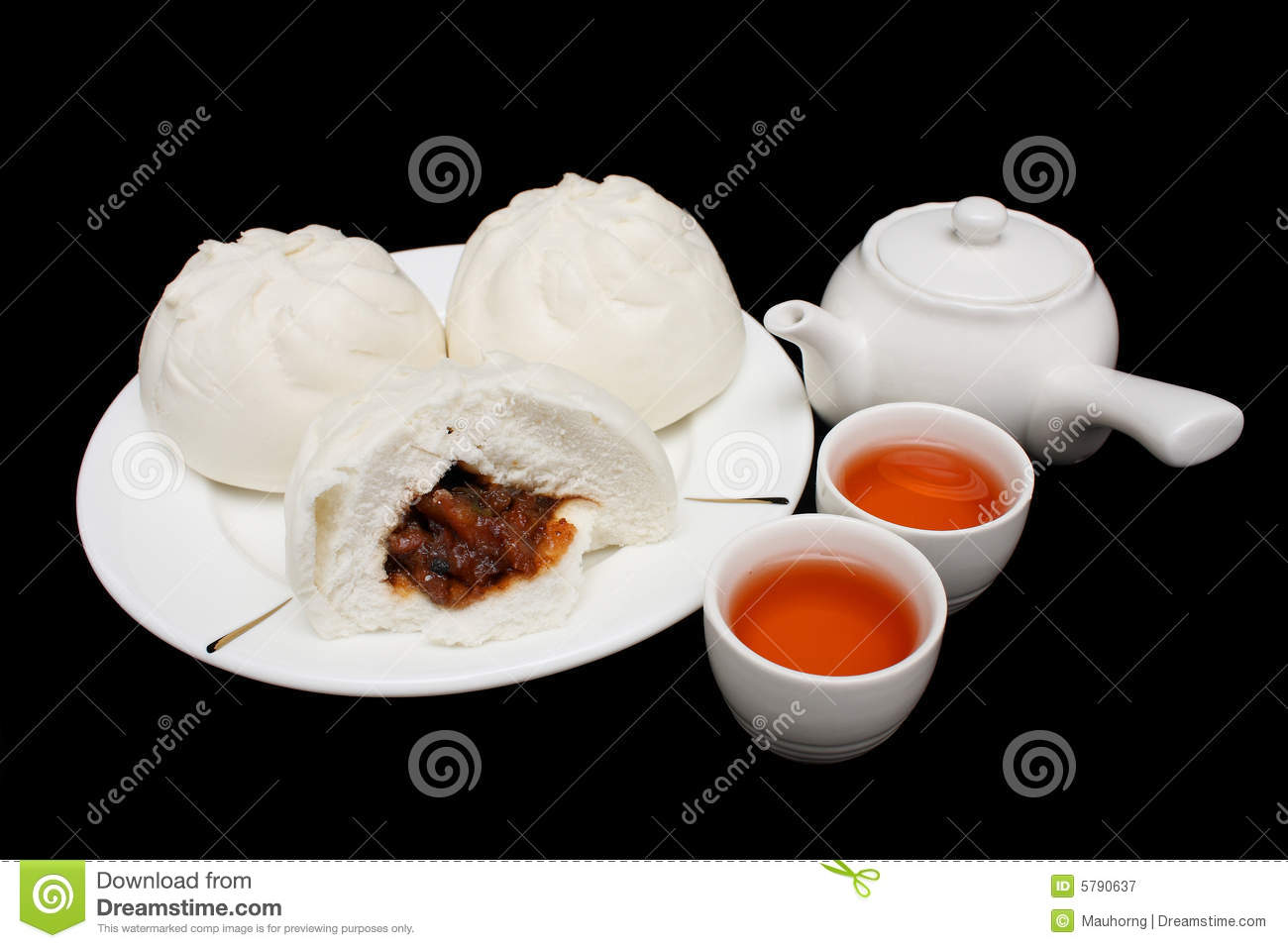 Chinese Barbecued Pork Bun with Teapot and Teacups