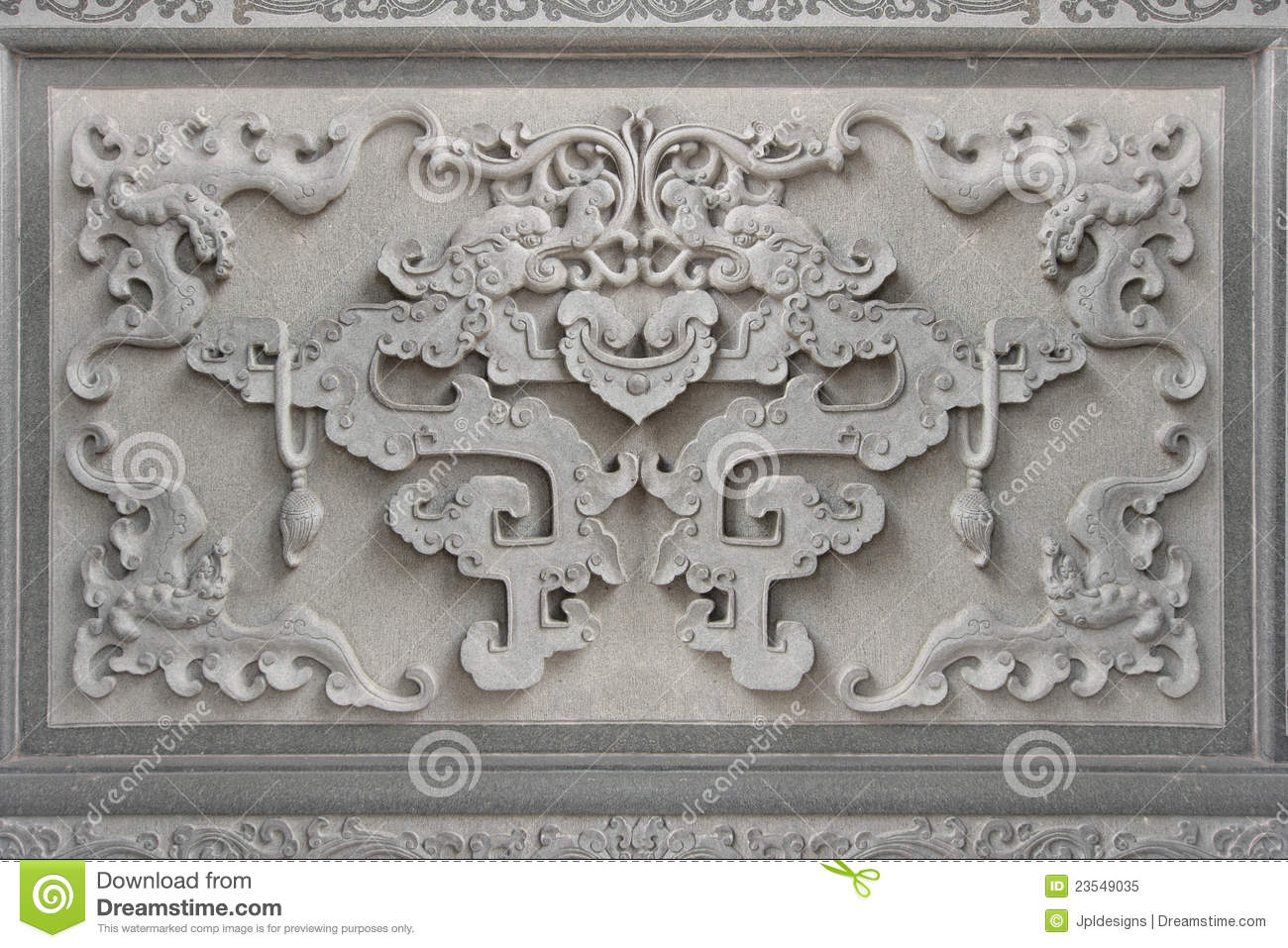 Chinese bat symbol wall stone carving stock image